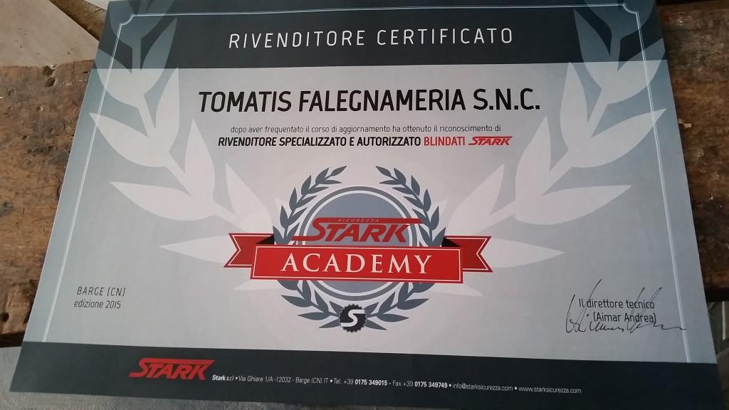 Certificato Stark Academy Falegnameria Tomatis